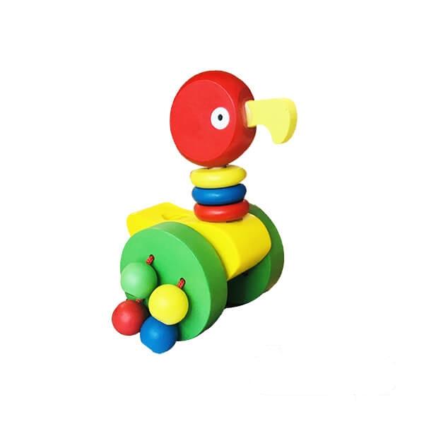 اسباب بازی چوبی چرخدار مدل طوطی