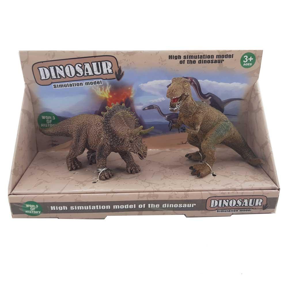 فیگور دایناسور دوتایی مدل تیرانوسوروس و تریسراتوپس (D3)