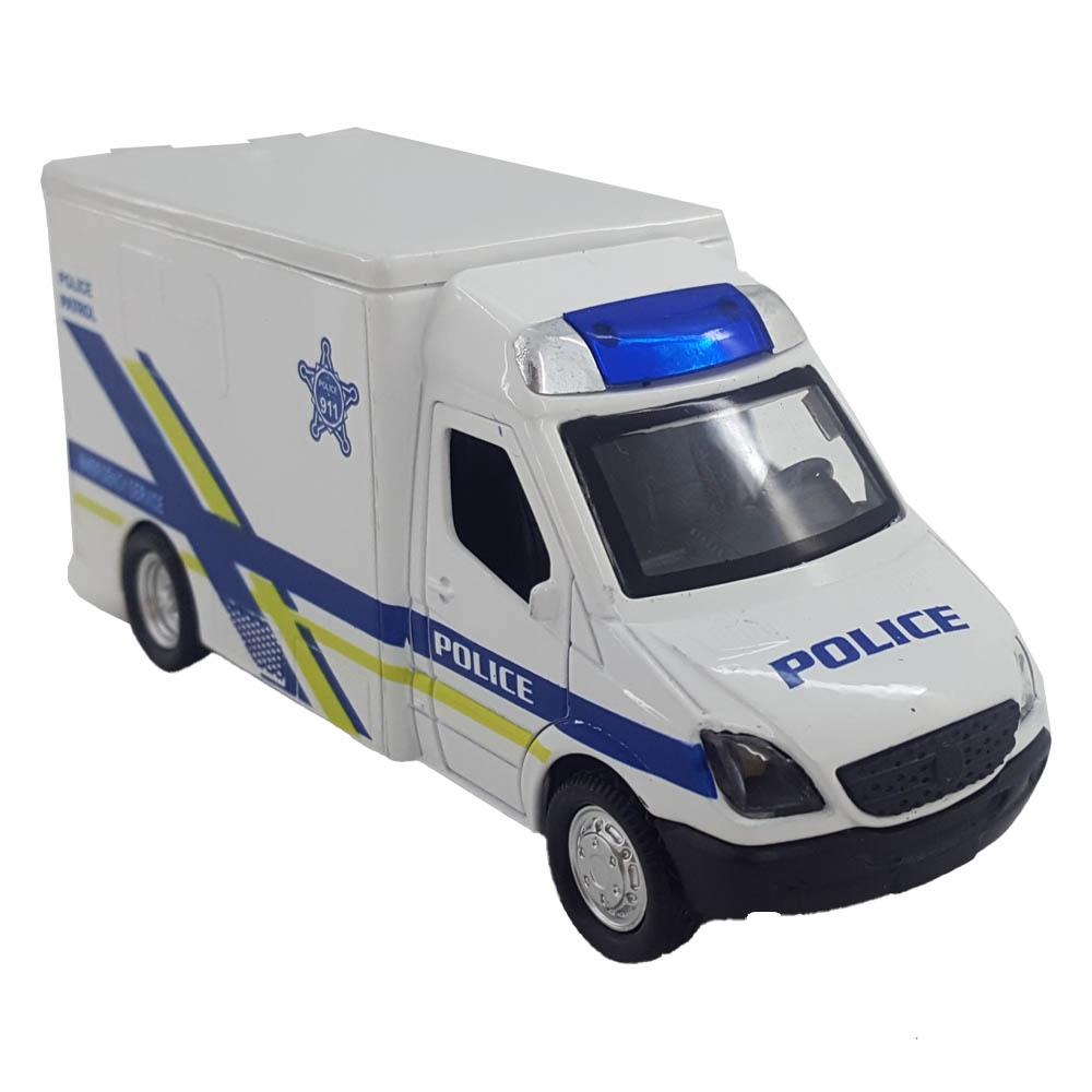 ماشین فلزی کامیون پلیس (عقبکش موزیکال)