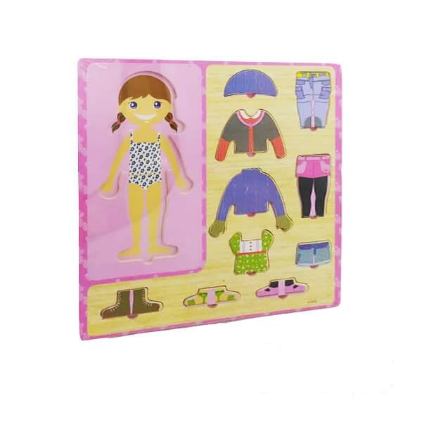 پازل چوبی جانمایی آموزش لباس دخترانه