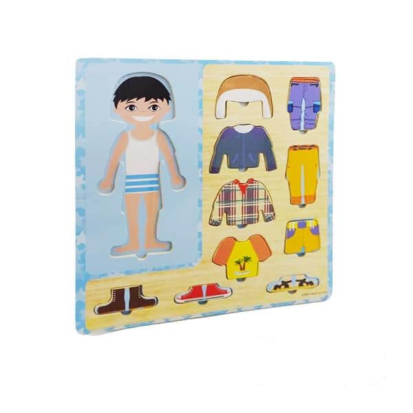 پازل چوبی جانمایی آموزش لباس پسرانه