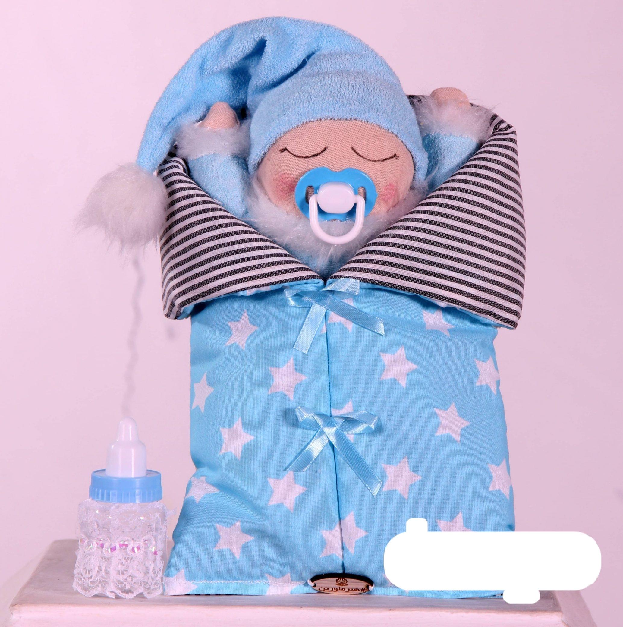 عروسک لالایی با شیشه شیر آبی