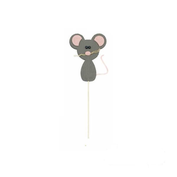 عروسک موش نمدی خاکستری لاغر
