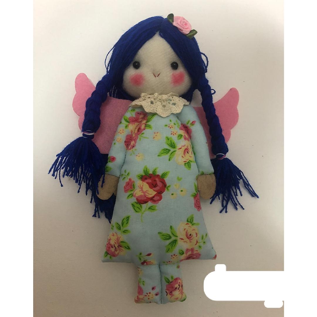 عروسک وداد مو سرمه ای لباس آبی